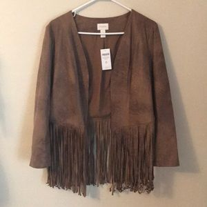 CHICO'S faux leather  jacket novelty fringe size 0